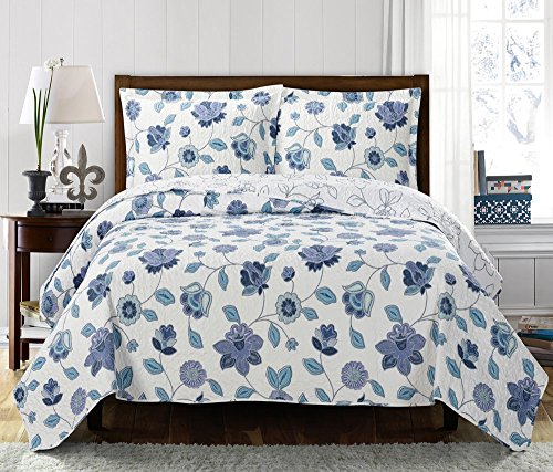 Miranda California-King Size, Over-Sized Coverlet 3pc set, Luxury Microfiber Printed Quilt by Royal Hotel