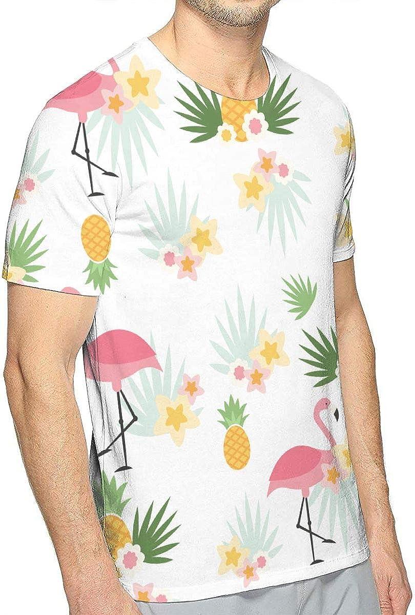 Novelty Slim-Fit T-Shirt for Men Adult Teens Short Sleeve Flamingo Flower