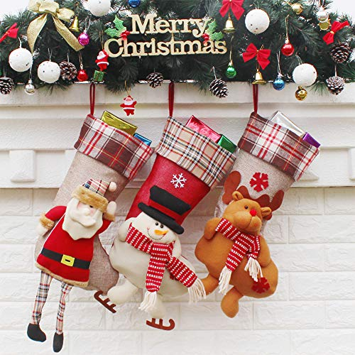 HQQNUO Christmas Stocking Xmas Stocking Big Size 3 Pcs 18'' Santa Snowman Reindeer Xmas Character 3D Plush with Faux Fur Cuff Christmas Decorations and Party Accessory by HQQNUO