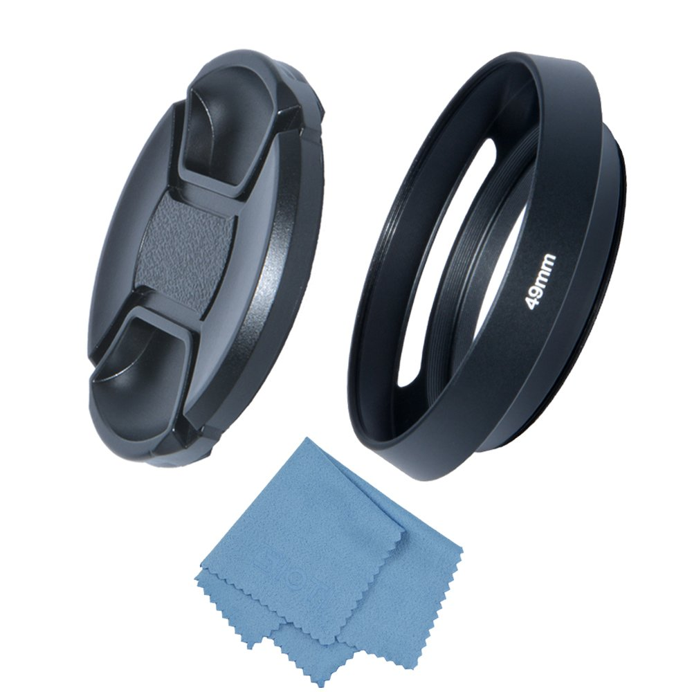 SIOTI Camera Wide Angle Metal Lens Hood with Cleaning Cloth and Lens Cap Compatible with Leica//Fuji//Nikon//Canon//Samsung Standard Thread Lens