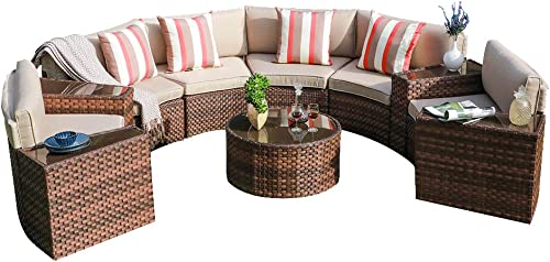 SUNSITT Outdoor Sectional Set 11-Piece Half Moon Patio Furniture Brown Wicker Sofa Beige Cushions with 4 Side Table and 4 Pillows