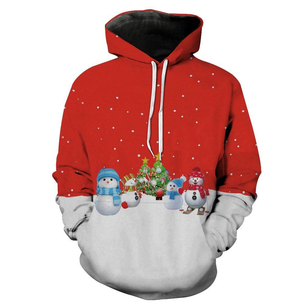 MEI&S Männer Weihnachten Pattern Sweatshirt Hoodie Langarm Hut Gurt Tasche Casual