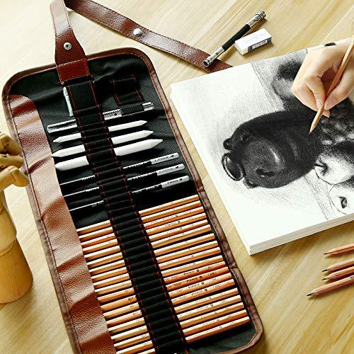 Ensemble de Crayons de Croquis, 30pcs Crayon à Dessin Graphite pour Artiste Adulte Enfant inclus Stylo à Charbon, des Crayons au Fusain, un Sac à Crayons en Toile et des Accessoires