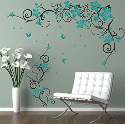 Butterfly Flower Vinyl Art Wall stickers Car Body Sticker Home Decals Gift MH