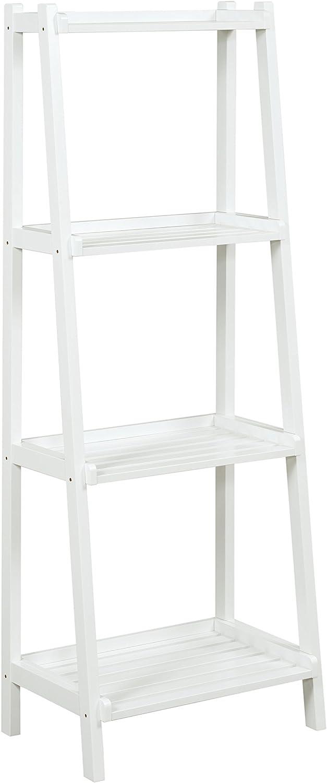 New Ridge Home Goods Dunnsville 4-Tier Ladder Shelf, White