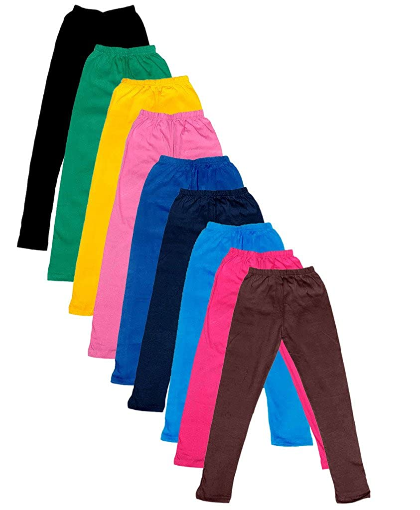 -Multiple Colors-17-18 Years Pack of 9 Indistar Big Girls Cotton Full Ankle Length Solid Leggings