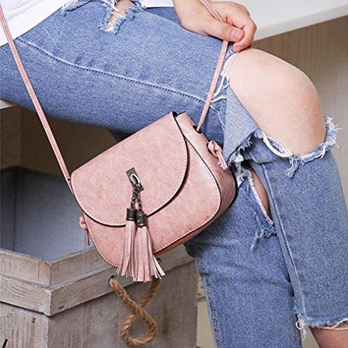 BZLine® Frauen Quaste Messenger Klappe Taschen Crossbody Umhängetasche Pink KeCJTVcW