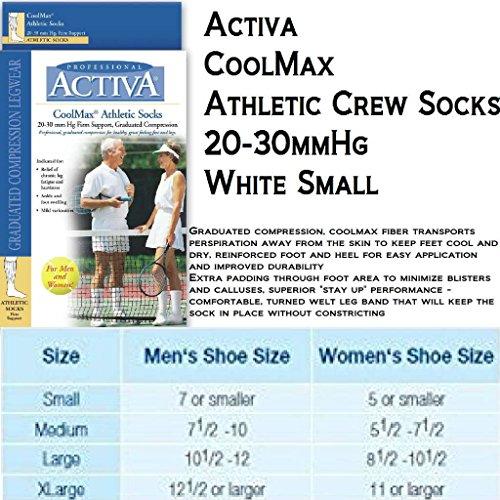 Activa Athletic Crew Socks, White, (Activa Support Socks)