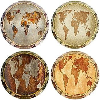 QIMOUSE Coasters Non Slip Set of 4, Ceramic World Map Design Coasters