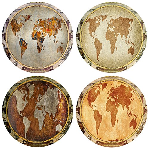 asters Set of 4, Ceramic World Map Design Coasters with Cork Backing (World Map) (Round Map)