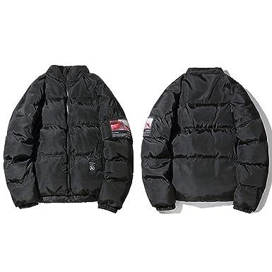 Red Jacket Winter Streetwear Men Hip Hop Windbreaker Oversized Padded Jacket Coat Cotton Outwear,Black