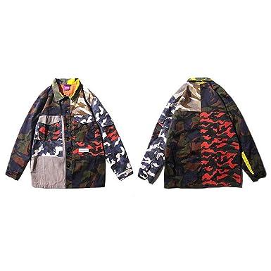 Mens Camouflage Jackets Hip Hop Vintage Block Patchwork Jacket Streetwear Casual Bomber Jacket Autumn A93CKC06 M