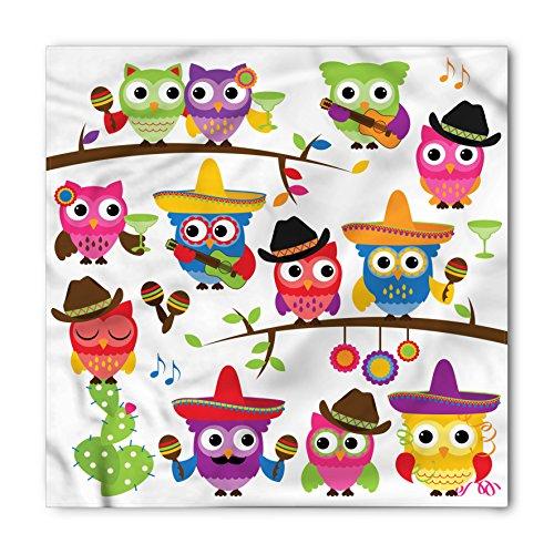 Lunarable Unisex Bandana, Owls Mexican Birds with Guitars, Orange Red