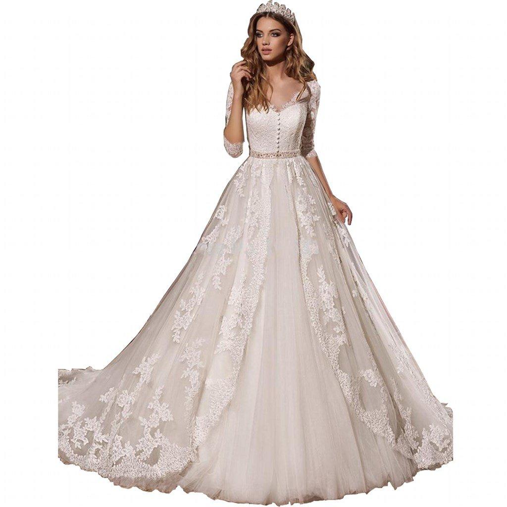 Chady Elegant Applique Lace Wedding Dresses 2018 Ball Gown Long