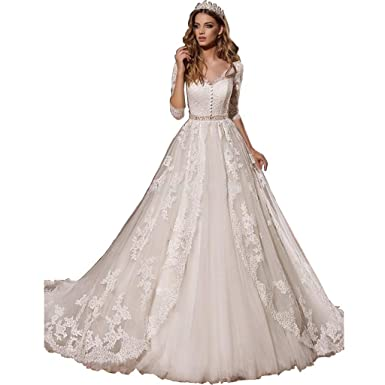 3e453507f3d8 Chady Elegant Applique Lace Wedding Dresses 2018 Ball Gown Long Sleeves  Princess Wedding Bridal Gowns at Amazon Women's Clothing store: