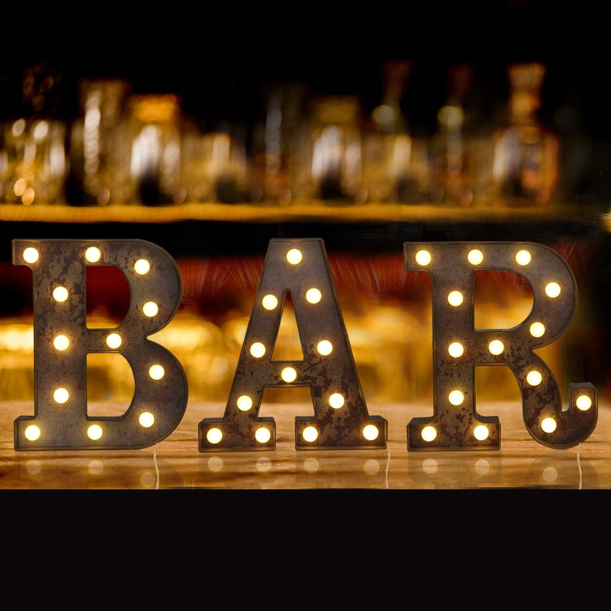 Elnsivo Light Up Vintage Bar Sign with Lights, Illuminated Industrial Style Lighted Bar Cart Marquee Sign Letters Night Light for Bar, Pub, Bistro, Party, Wall Decor(Rust Effect BAR)