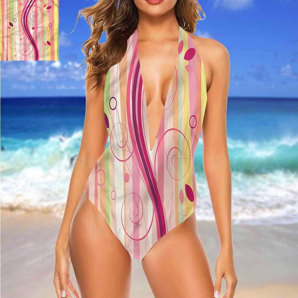 Bikini dos nu abstrait à pois horizontaux parfaits pour se détendre côté piscine Multi 27.