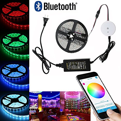Power Palette System (Bluetooth LED Strip lights, Topled Light 16.4ft/5M Multi Color RGB Smartphone App Controlled Strip Light Kit for iOS/Android Lighting System (5M RGB Waterproof))
