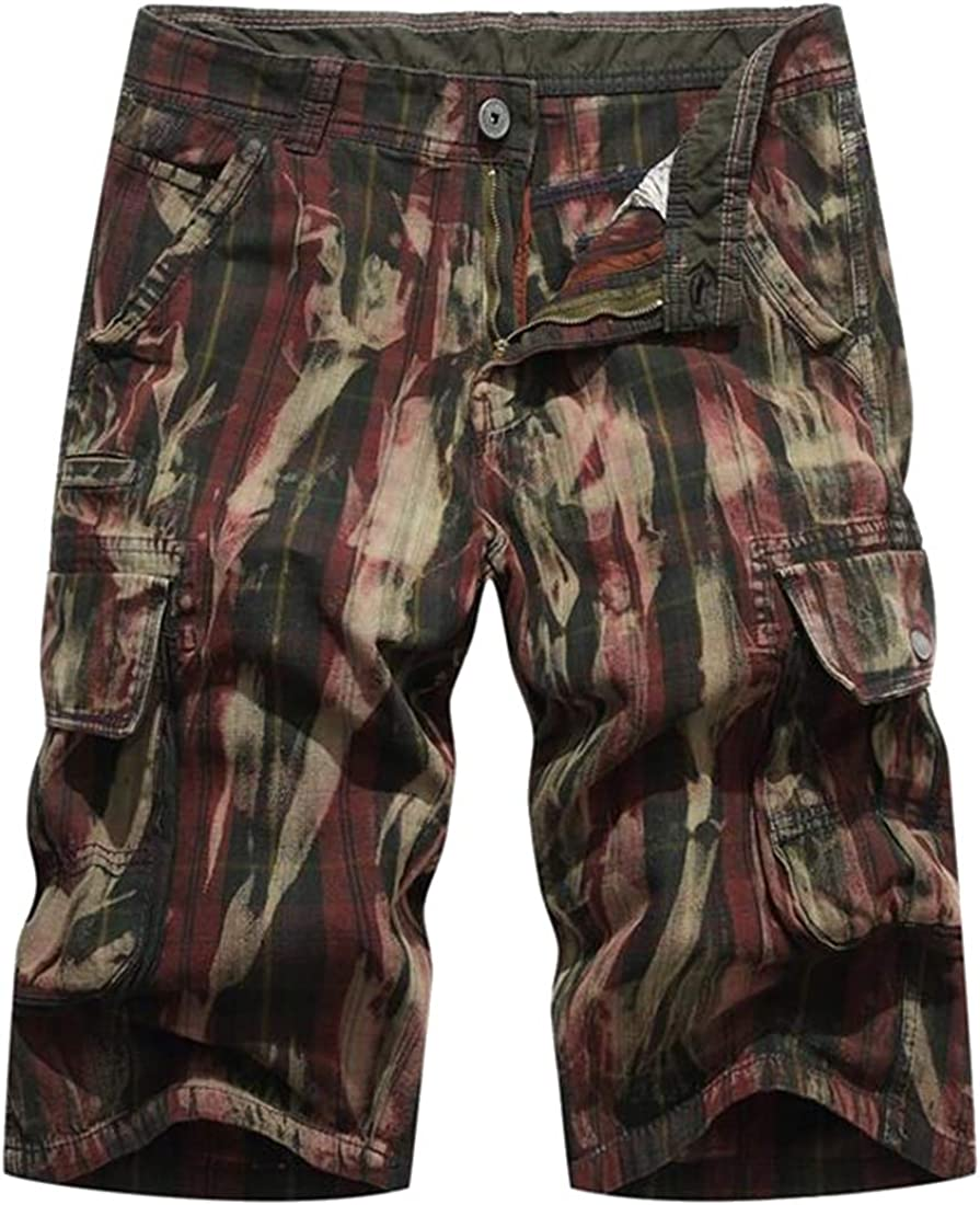 X-Future Mens Cotton Multi Pockets Summer Rugged Camouflage Cargo Shorts