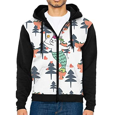 fbb971de8 YUY Hoodie Cat Mermaid 3D Print Mens Funny With Pocket Hoodie Jacket Zip at  Amazon Men's Clothing store: