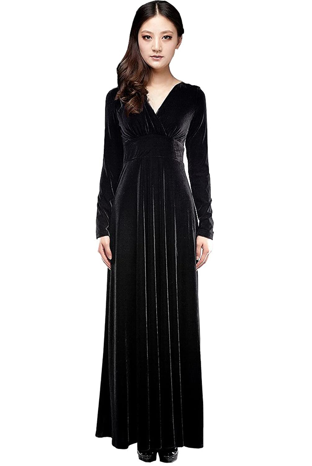 Amazon.com: Medeshe Black Formal Long Velvet Dress Evening Party ...