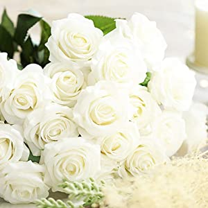 Amzali Artificial Flowers, Real Touch Flowers Long Stem Silk Artificial Rose Flowers Home Decor for Bridal Wedding Bouquet, Birthday Flowers Bunch Party Garden Floral Arrangement White