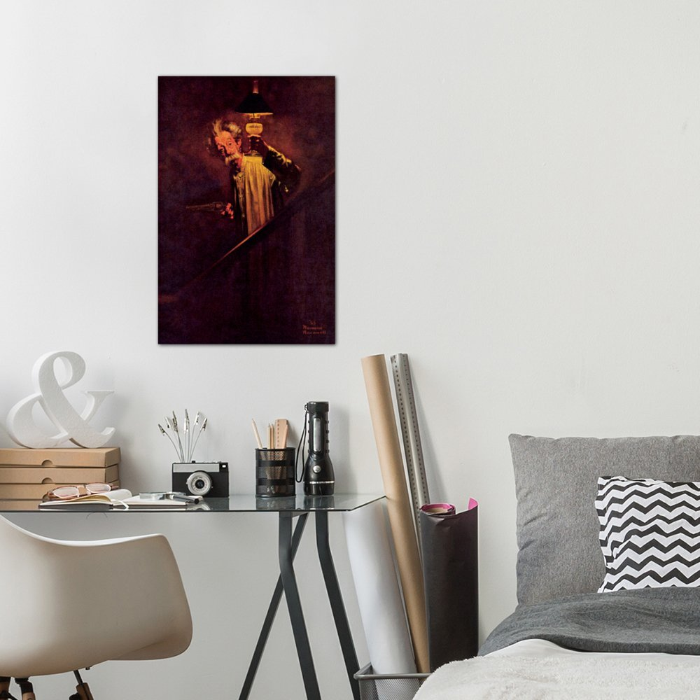 60 by 40//0.75 Deep iCanvasART 3 Piece What A Protection Electric Light is Canvas Print by Norman Rockwell