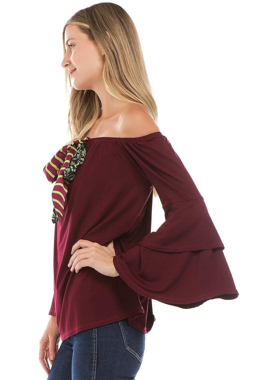 Wine -VT2300 VAVA by Joy Han Womens Zelda Bell Sleeve TOP