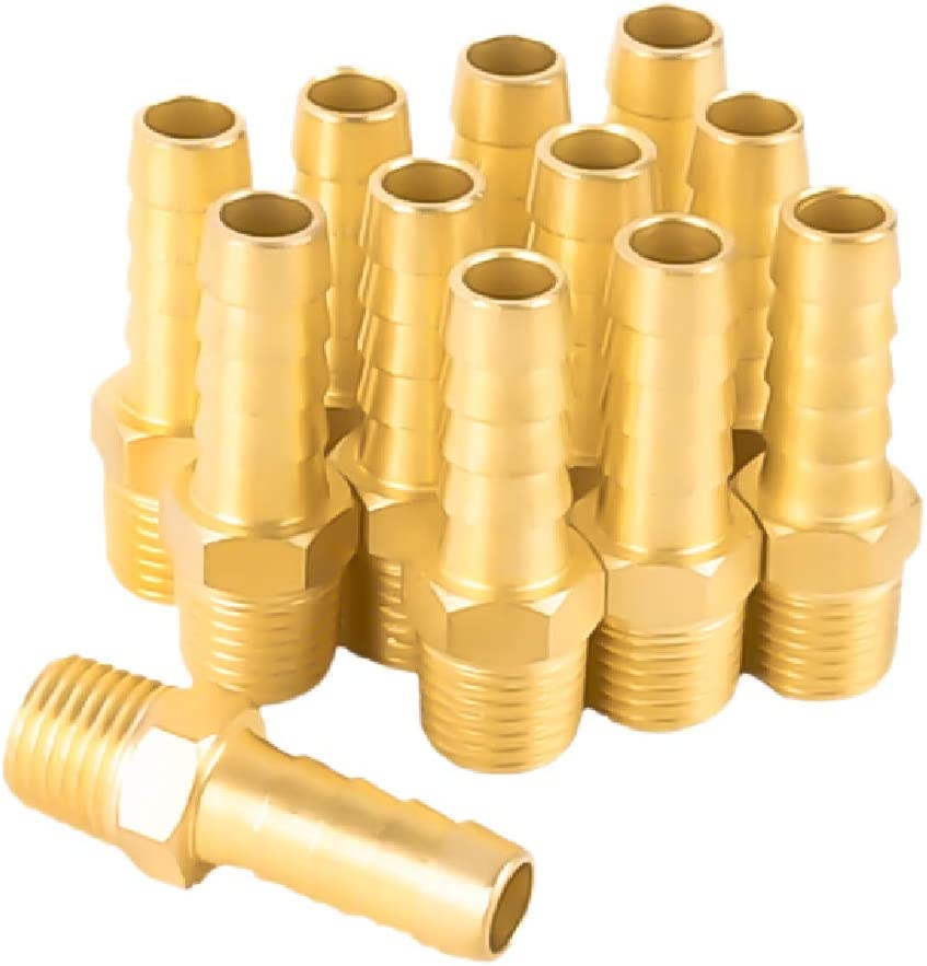 "SUNGATOR 12-Pack Air Hose Fittings, 1/4"" NPT to 3/8"" Barb, Hose Barb Adapter, Brass Pipe Fittings Male Threaded End"