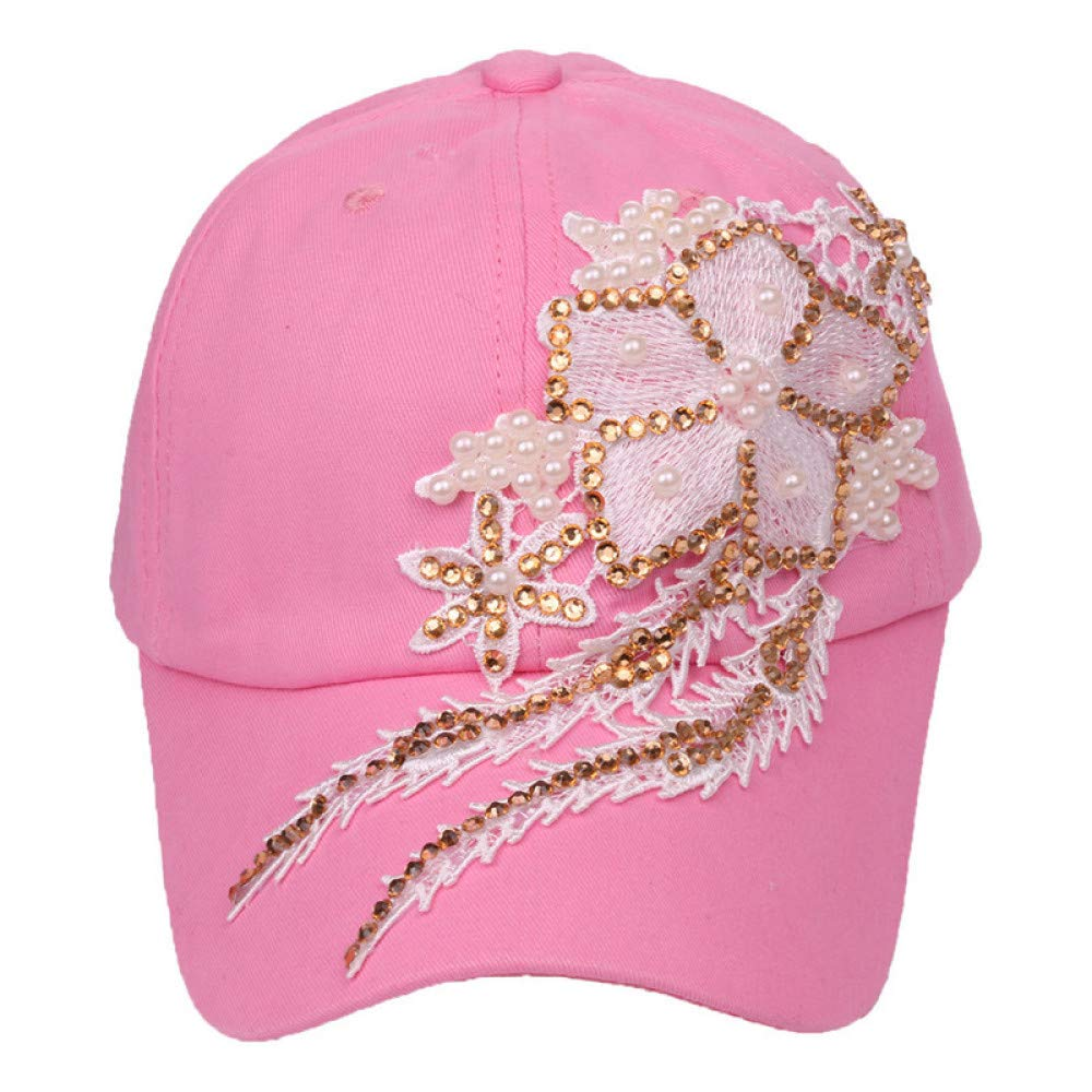 zhuzhuwen Gorra de béisbol de algodón para Mujer Denim Pearl Pearl ...