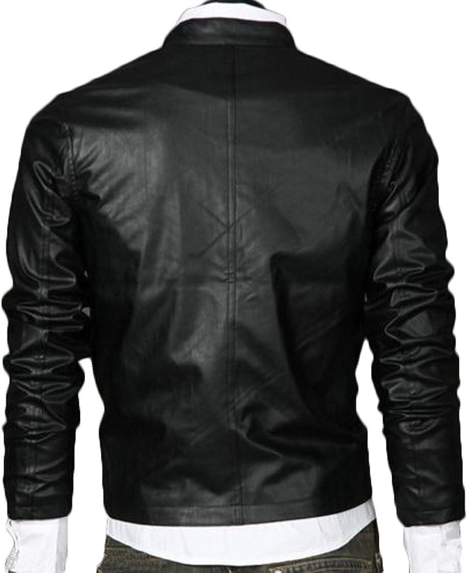 Men Leather Jacket Coat Motorcycle Biker Slim Fit Outwear Jackets T1128