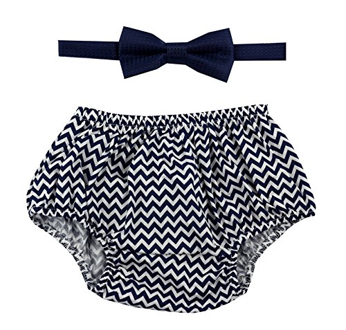 Gentlemen Ties Cake Smash Outfit Boy First Birthday Includes Bloomers and Bow Tie (Navy Blue Chevron Bloomer and Navy Blue Bow)]()
