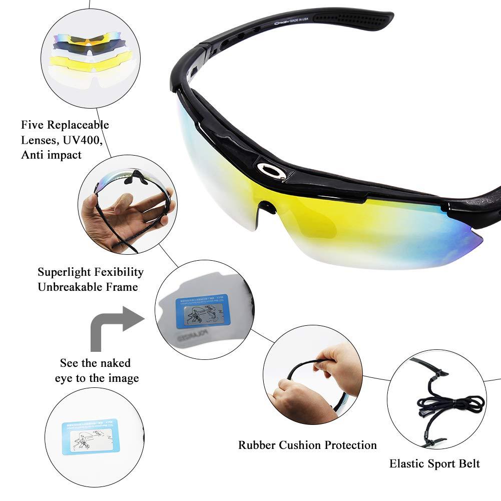 Miriqi Gafas de Sol polarizadas con 5 Lentes Intercambiables UV400 Protección Antivaho Antireflejo Anti Viento, Gafas de Sol Deportivas para Unisex ...
