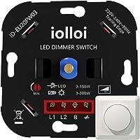 iolloi LED-Dimmer, Fase Afsnijding, Inbouw Draaidimmer voor Dimbaar LED's 3-150 W en Halogeen 3-300 W, Wit, 3 Jaar…