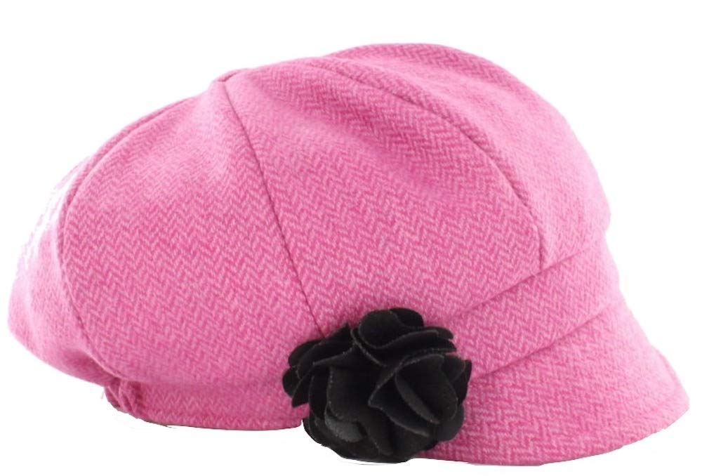 Mucros Weavers Ladies Newsboy Hat Pink Herringbone by Mucros Weavers