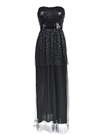 2840817aa79 neudas Women Strapless Tube Top Mesh Dress Sexy Sequins Ball Gown Evening Dress  Dresses at Amazon Women s Clothing store