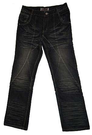 4b66206f738d20 Herren Jeans Schwarz Reißverschluss Used Look Waschungen Hose für Männer  Ziernähte: Amazon.de: Bekleidung