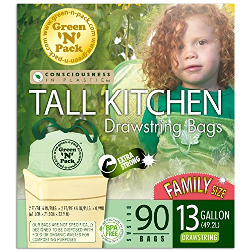 - Green N Pack 13 Gallon Tall Kitchen Drawstring Bag, Tall Kitchen Trash Liners