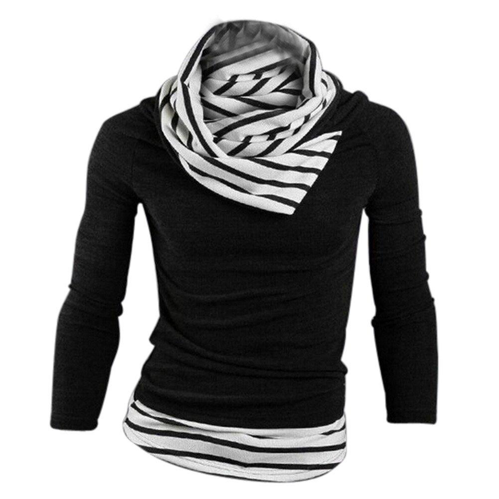 SODIAL (R) Nueva moda delgado encaja contraste de mosaico del collar Prendas de punto ropa de hombre collar de rayas Negro - M