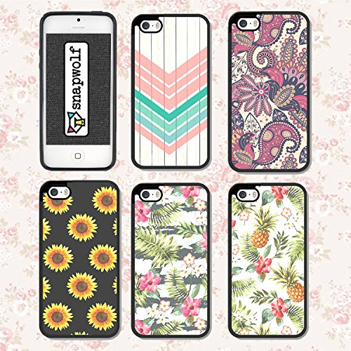 Amazon SnapWolf Floral Pattern Girly Snap On Slim Flexible TPU Silicone Cover For IPhone 5S Pack Of 5 Electronics