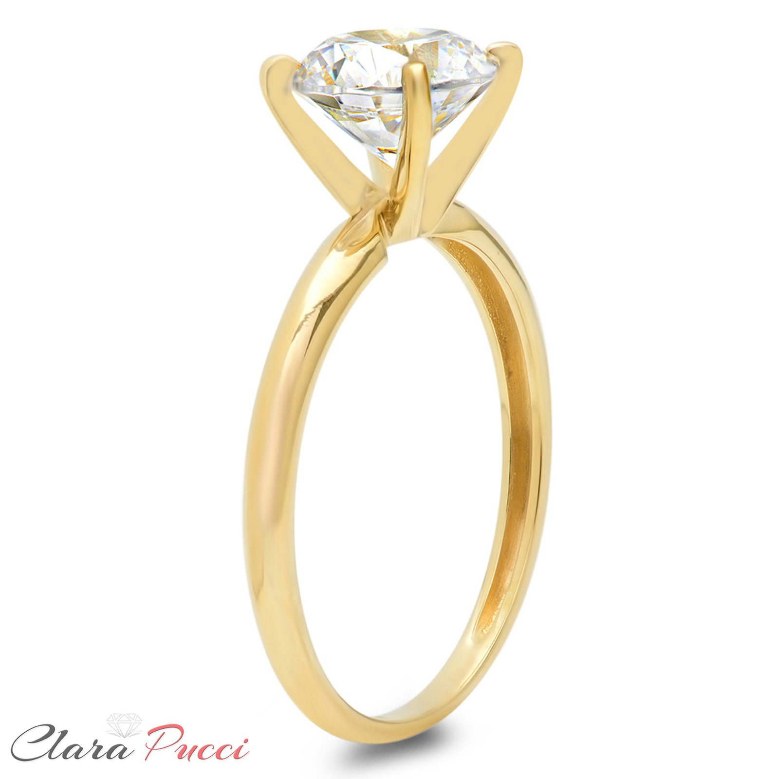 Clara Pucci 2.0 CT Brilliant Round Cut Simulated Diamond CZ Designer 4-Prong Solitaire Anniversary Promise Bridal Wedding Ring Solid 14k Yellow Gold by Clara Pucci (Image #6)