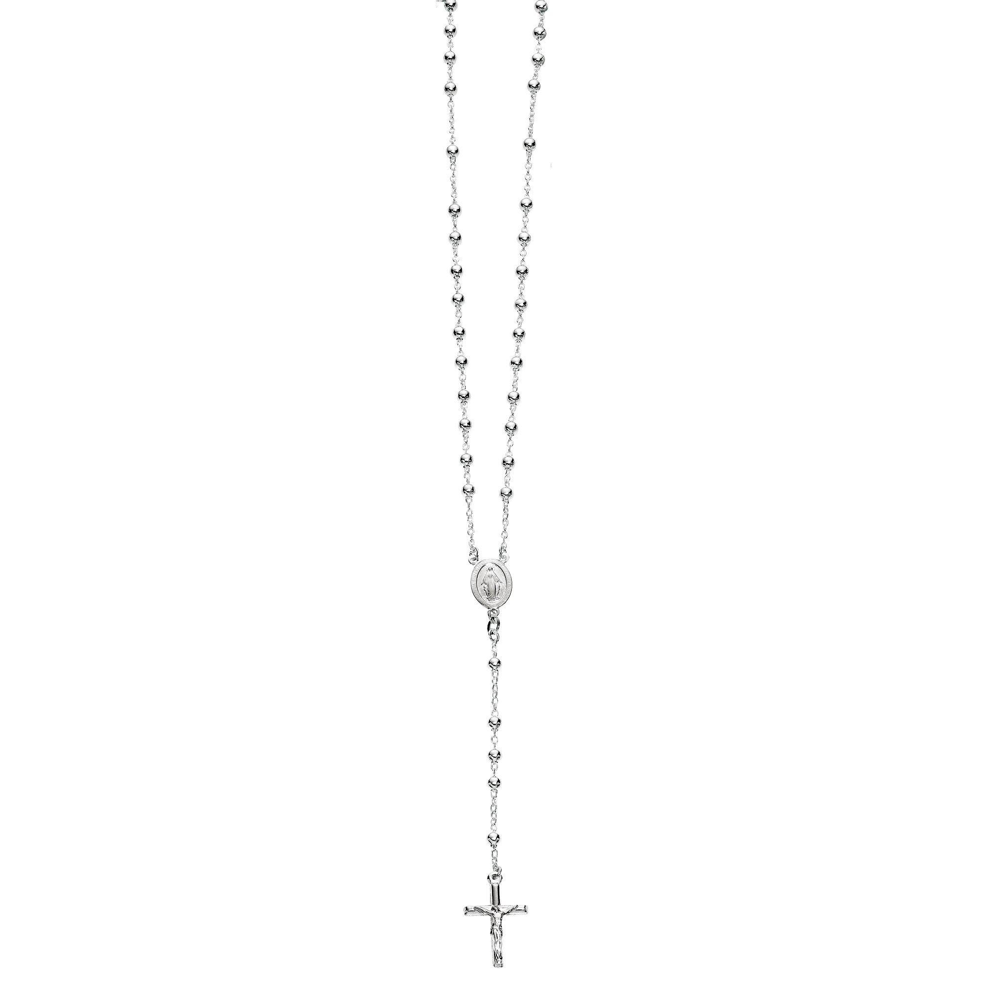 Sterling Silver Catholic Rosary 4mm Beads Virgin Mary Crucifix Cross 24'' Necklace