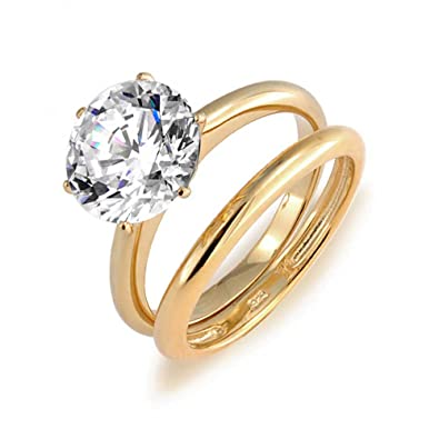 Bling Jewelry 3.5ct Solitaire CZ Gold Plated Engagement Wedding Ring Set DT-LR0347GST