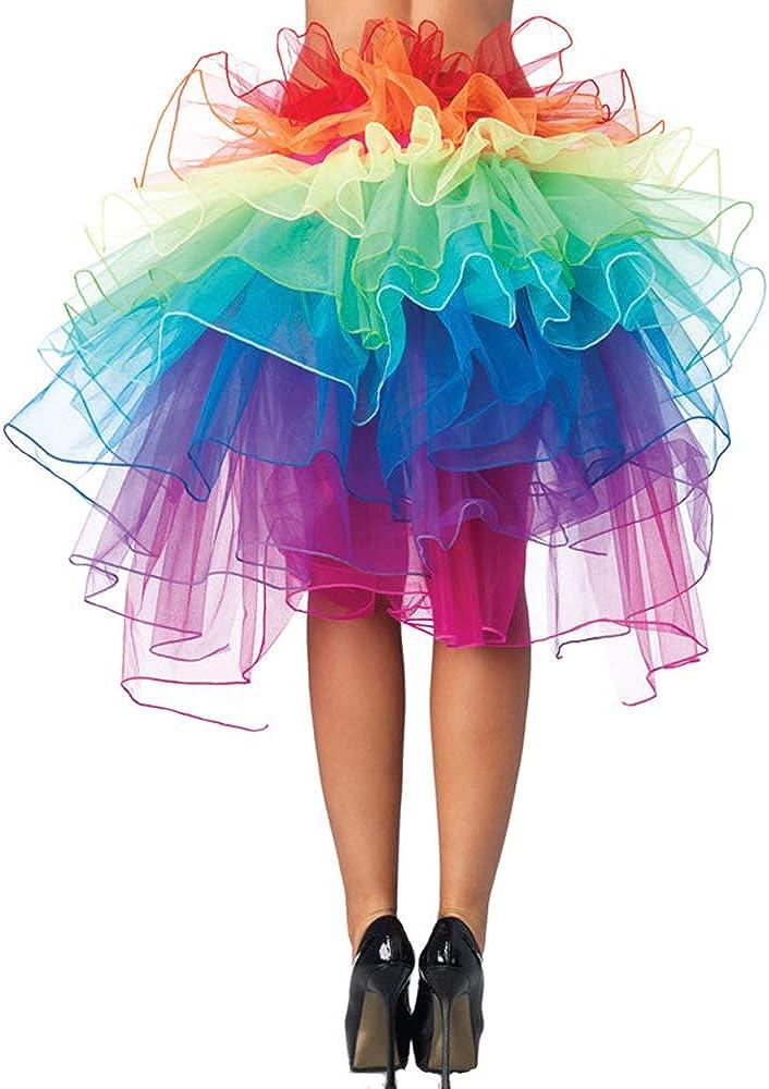 Pink Rainbow Unicorn Skirt High Low Bustle Tutu Baby Kids Girls Adult Ladies