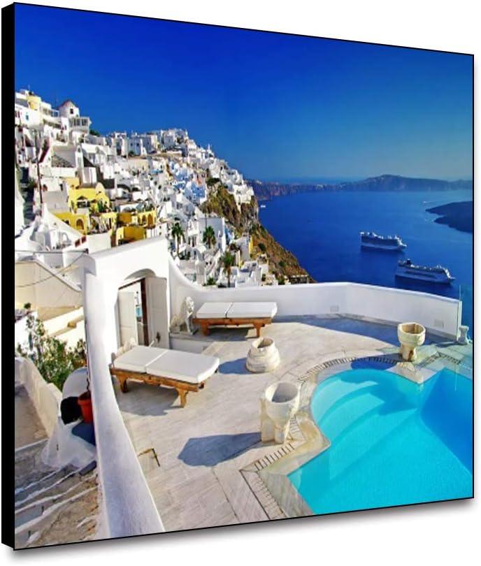 "Musemailer Canvas Santorini Greece Wall Art 18""x12"" Greek Island Landscape Seaside House Luxury Hotel Terrace Swimming Pool Azure Blue Sky and Sea Framed Canvas Wall Decor for Home Hotel Cafe Bar"