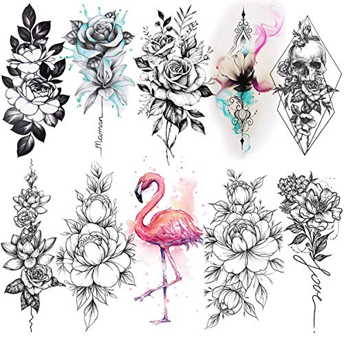 VANTATY 10 Sheets 3D Black Peony Rose Temporary Tattoos Flower Fonts Quotes For Women Body Arm Lotus Peach Lily Daisy Long Lasting Fake Tattoo Sticker For Girls Sketch Leaf Blossom Tatoos Sexy.