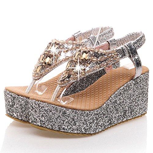 Foam Strap Women's DoraTasia Slip Heel T Flops Wedge Flip Glitter Sandals High Silvery Platform on Summer xTrqvfrdw
