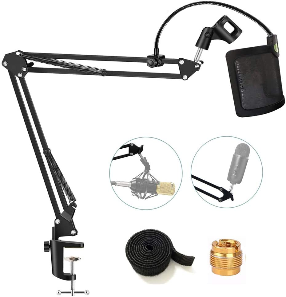 Etubby [Heavy Duty] Microphone Stand with U-shaped Steel Mesh Mic Pop Filter, Suspension Boom Scissor Arm Stand Mic Clip Holder for Blue Yeti, Snowball & Other Mic in Recording, Broadcasting, Etc.