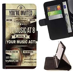 King Case - FOR Apple Iphone 6 - your music art - Prima caja de la PU billetera de cuero con ranuras para tarjetas, efectivo Compartimiento desmontable y correa para la mu?eca
