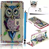 Vandot Samsung Galaxy Note 4 N9100 Wallet Card Slots Case,3 in 1 Set Colorful Painting Pattern Premium [Double Sided Design][Perfect Fit] PU Leather Flip Stand Magnetic Closure Cover+Diamond Owl Anti Dust Plug+Stylus Pen-Unique Design Weave Animal Owl
